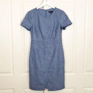 Banana Republic Wool Heathered Blue Career Dress